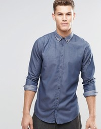 Темно-синяя рубашка зауженного кроя на пуговицах BOSS Orange