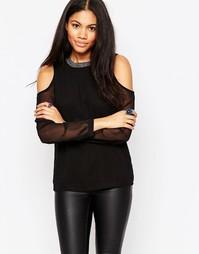 Блузка с открытыми плечами и вышивкой на горловине Only - Черный
