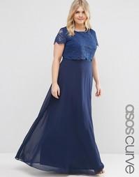 Платье макси с кружевным кроп-топом ASOS CURVE - Темно-синий