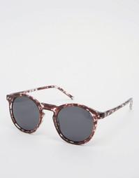 Круглые солнцезащитные очки в черепаховой оправе ASOS - Черный