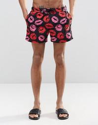 Короткие шорты для плавания с принтом губ ASOS - Черный