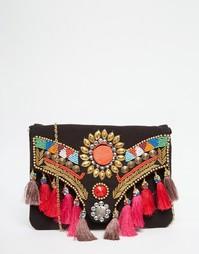 Клатч с кисточками и бисерной отделкой Glamorous - Черная вышивка