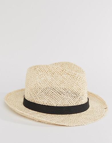 Соломенная шляпа с черной тесьмой в полоску Catarzi - Бежевый