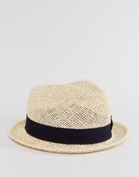 Соломенная шляпа с черной тесьмой Catarzi - Бежевый