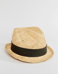Соломенная шляпа с лентой в серый горошек Catarzi - Бежевый