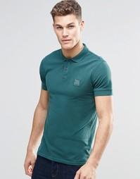 Зеленая футболка-поло слим с логотипом BOSS Orange - Зеленый