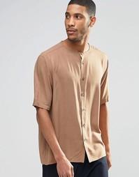 Бежевая рубашка классического кроя без воротника с укороченными рукава Asos