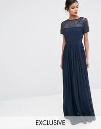Плиссированное платье макси Maya - Темно-синий