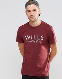 Бордовая футболка классического кроя с принтом Jack Wills - Сливовый