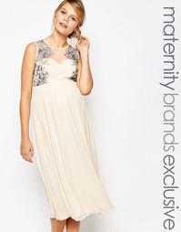 Приталенное платье для беременных с кружевной отделкой Little Mistress