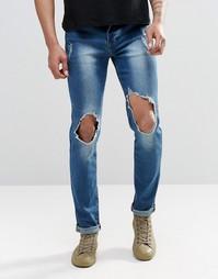 Зауженные джинсы с рваной отделкой на коленках Sixth June - Синий