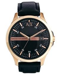 Часы с черным кожаным ремешком Armani Exchange AX2129 - Черный
