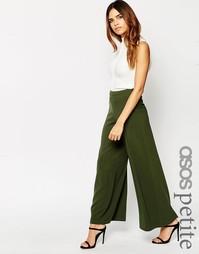 Крепдешиновые брюки с широкими штанинами ASOS PETITE - Черный