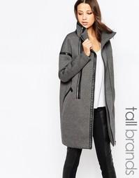Пальто-кокон с двойной молнией и воротом-трубой Y.A.S Tall - Серый
