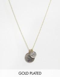 Ожерелье с двумя подвесками‑монетками Rock 'N' Rose Ellen - Золотой