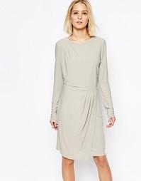 Платье с драпировкой на юбке Selected Milan - Серый