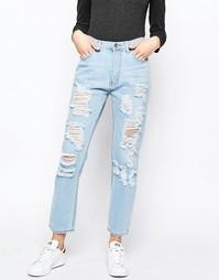 Узкие рваные джинсы с завышенной талией Good Vibes Bad Daze