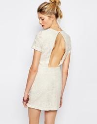 Платье с вышивкой и вырезом Sessun Jaja - Кремовый