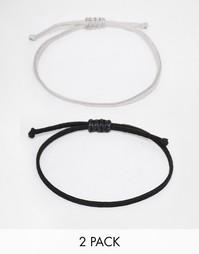 Набор плетеных браслетов (черный/серый) ASOS - Черный