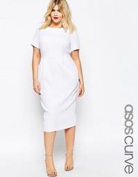 Облегающее фактурное платье миди ASOS CURVE - Белый