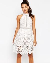 Платье миди с высоким воротом Love - Белый