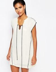 Платье-туника с декоративной строчкой Moon River - Кремовый