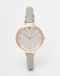 Часы с серым ремешком в корпусе цвета розового золота ASOS - Серый
