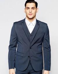 Синий эластичный пиджак кроя слим ASOS - Синий