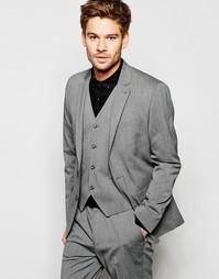 Серый эластичный пиджак кроя слим ASOS - Серый