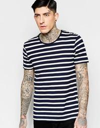 Темно-синяя футболка в бретонскую полоску Minimum - Темно-синий