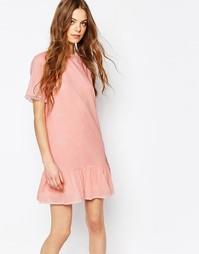 Розовое хлопковое платье с оборкой из тюля Vanessa Bruno Athe