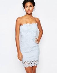 Облегающее платье-бандо с кружевом Wyldr - Бледно-синий