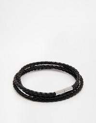 Плетеный браслет в несколько оборотов Seven London - Черный