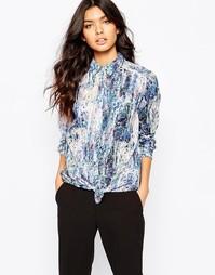 Блузка с узелком спереди и абстрактным принтом BOSS Orange Ejey