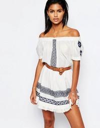 Платье с открытыми плечами и вышивкой Tularosa - Белый