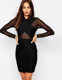 Платье с перекрестом и сетчатыми длинными рукавами Missguided - Черный