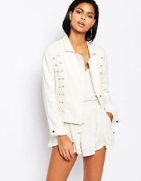 Льняной пиджак со шнуровкой Moon River - Кремовый