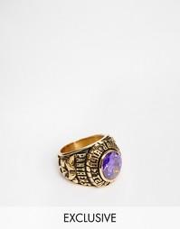 Кольцо в университетском стиле с фиолетовым камнем Reclaimed Vintage