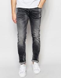 Черные джинсы слим с выбеленным эффектом Only & Sons