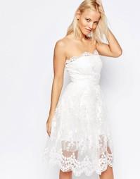 Приталенное платье с юбкой‑баллон Glamorous - Белый