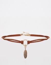 Ожерелье-чокер с перьями ASOS - Коричневый