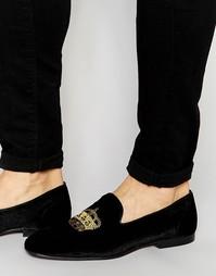 Черные бархатные лоферы с вышивкой короны ASOS - Черный