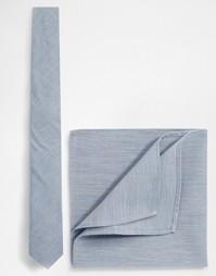 Галстук и платок для нагрудного кармана ASOS - Скидка 21% - Синий
