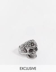 Серебристое кольцо с черепом и цветами Reclaimed Vintage - Серебряный