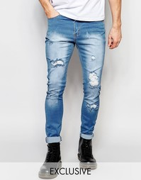 Светлые рваные джинсы скинни Liquor & Poker - Легкий стираный эффект