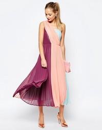 Платье миди премиум класса на одно плечо в стиле колор блок ASOS SALON