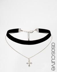 Многоярусное бархатное ожерелье-чокер с цепочкой и подвеской-крестом A Asos Curve