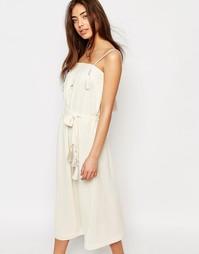 Белое платье миди с кисточками Sessun - Кремовый