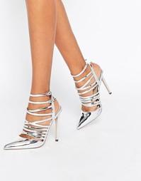 Туфли на каблуке с острым носком и решеткой из ремешков ASOS POWER
