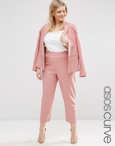 Льняные укороченные брюки ASOS CURVE - Розовый